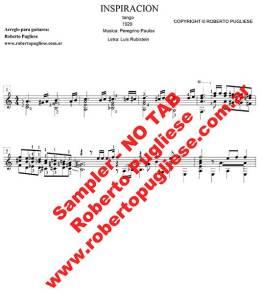 Ejemplo de Inspiracion tango guitarra. Tapa de la partitura en un arreglo para guitarra solista del maestro Roberto Pugliese