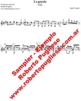 Ejemplo de La gayola de la partitura del tango para guitarra, arreglo del maestro Roberto Pugliese