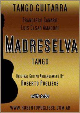 Tapa de la partitura Madreselva para guitarra, en un arreglo del maestro argentino Roberto Pugliese