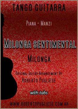 """""""Milonga sentimental"""" tapa de la partitura para guitarra, en un arreglo del maestro argentino Roberto Pugliese, con video y tab"""
