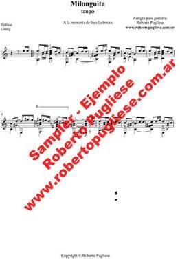 Milonguita - ejemplo del tango para guitarra en un arreglo para guitarra por el maestro Roberto Pugliese