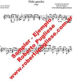 Nido gaucho tango - Ejemplo de la partitura para guitarra con video del maestro Roberto Pugliese.