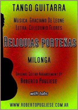 Reliquias porteñas - milonga guitarra, tapa de la partitura arreglo del maestro argentino Roberto Pugliese.