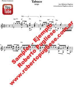 EJEMPLO de Tabaco tango partitura de guitarra. De Pontier y José María Contursi en un arreglo del maestro Roberto Pugliese. Con video y tab