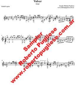 EJEMPLO de Volver Tango partitura de guitarra arreglo de Roberto Pugliese. Con video.