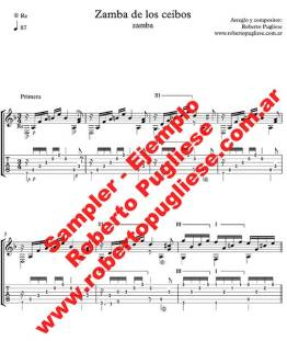 Ejemplo de Zamba de los ceibos zamba partitura de guitarra por Roberto Pugliese