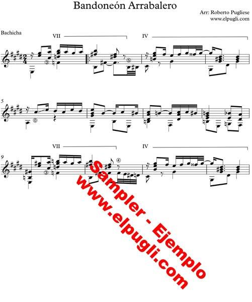 Ejemplo de Bandoneon arrabalero Tango partitura de guitarra