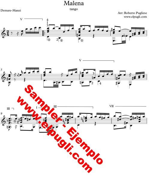 Malena tango partitura para guitarra ejemplo de la partitura de guitarra