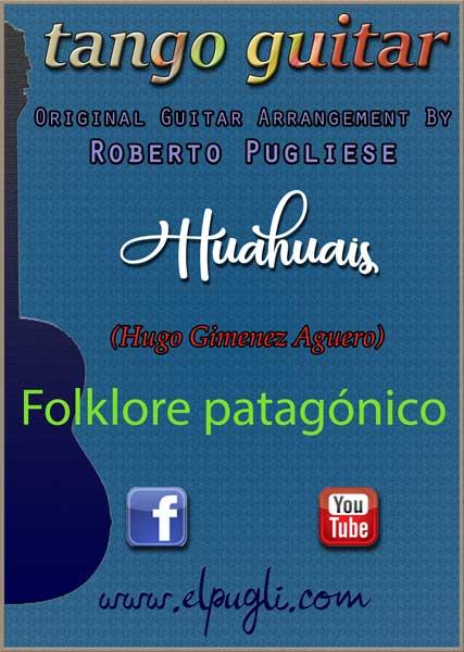 Tapa de la partitura de Huahuais de Hugo Gimenez Aguero en un arreglo para guitarra solista.