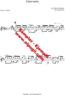 Cara sucia. Ejemplo de la partitura en guitarra por Roberto Pugliese