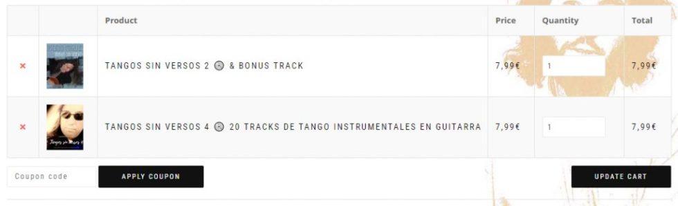 Como se realizan los descuentos en el carrito de compras del blog de tangos en guitarra de Roberto Pugliese- 02