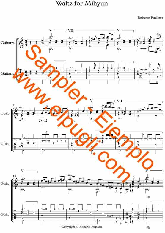 """original score of the waltz for guitar on youtube """"Waltz for Mihyun"""" with Tablature"""