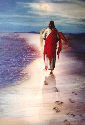 huellas en la arena, Jesús