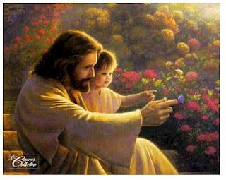 Jesús, niño, viendo, naturaleza, bondad