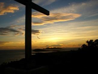 cruz, jesus, atardecer
