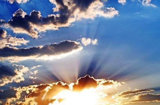 luz, mundo, Cristo, cielo, atardecer, nubes