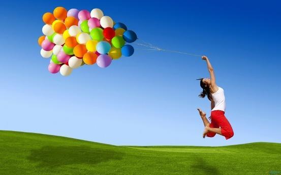 actitud, positiva, felicidad, globos