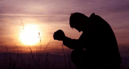 agradecido, orando, Dios