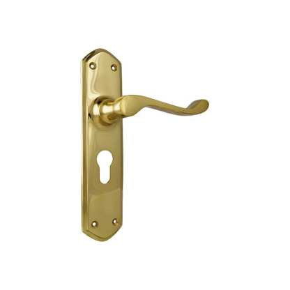 Tradco 1042E - Windsor Lever Euro - Polished Brass - 200x45mm - 60mm(P) 1
