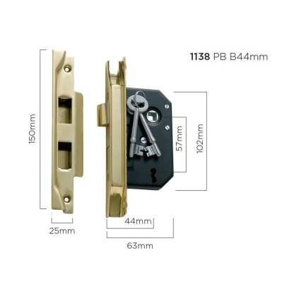1138 - Rebated Lock - Polished Brass - 44mm Backset 1
