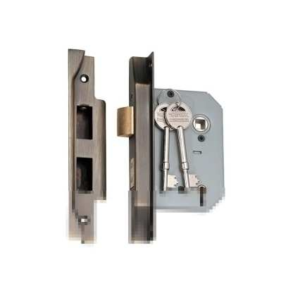 2155 - 5 Lever Rebated Mortice Lock - Antique Brass with a 57mm Backset 1