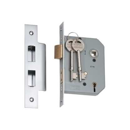 2175 - 5 Lever Mortice Lock - Satin Chrome with a 57mm Backset 1