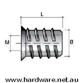 Insert Nut M6 Thread - 13mm Overall Length 2