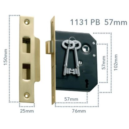 1131 - 3 Lever Mortice Lock - Polished Brass - 57mm Backset 2