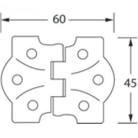 Flush Hinge. 60x45mm. Brass Plated 3
