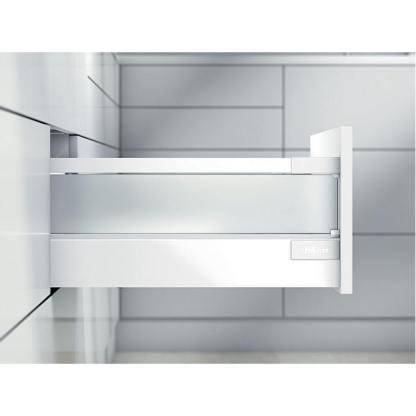 Blum Antaro Drawer Kit Drawer kit with side height D (228 mm). Lengths 450mm to 550mm. Silk White / Glass Finish. 65kg Rated. 1