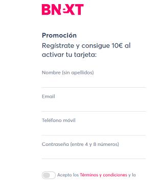 formulario de registro de Bnext