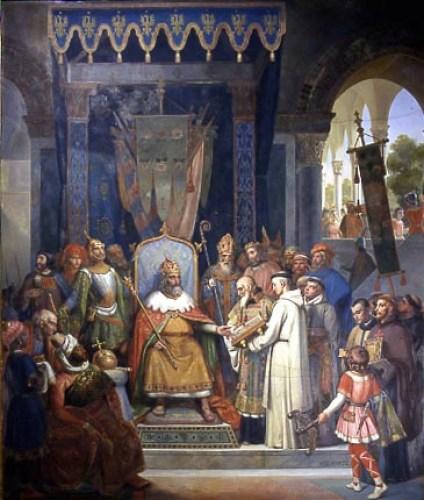 Alcuino y otros clérigos presentan manuscritos a Carlomagno en el Palacio de Aquisgrán, ante su corte. Pintura de historia de Jean-Victor Schnetz, 1830.