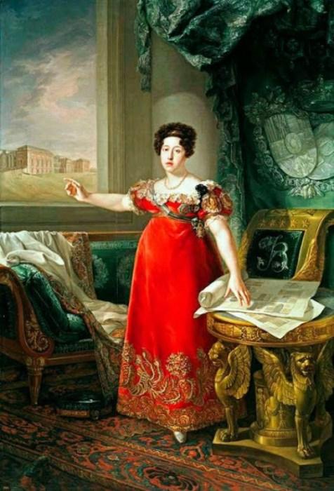 María Isabel de Braganza, reina de España, como fundadora del Museo del Prado por López Piquer (1829)