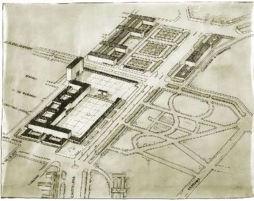 Esquema volumétrico de ordenación de los terrenos del Hipódromo y adyacentes (S. Zuazo 1933)