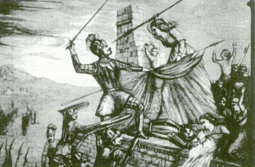 María Pita arrebatando una bandera que portaba un alférez inglés al cual mató. Esta escena llenó de moral y orgullo patriótico a los españoles defensores de la plaza.