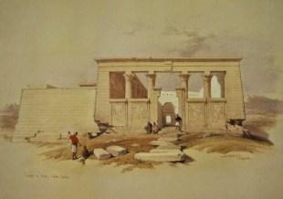 Templo de Debod por David Roberts (1838) en su ubicación original