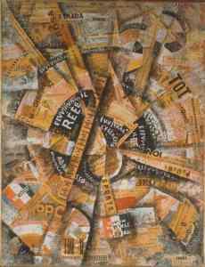 """INTERVENTIONIST DEMONSTRATION (MANIFESTAZIONE INTERVENTISTA), 1914Los futuristas querían mostrar la """"nueva forma de vida"""" que imponían las máquinas y las formas de comunicación. Esta obra, que emplea collage de diarios, es de Carlo Carrà Ver más en: http://www.20minutos.es/fotos/artes/el-futurismo-italiano-aterriza-en-nueva-york-10224/#xtor=AD-15&xts=467263"""