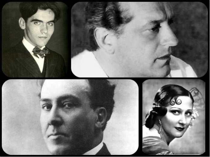 (De izquierda a derecha) Lorca, Alberti, Machado y Estrellita Castro
