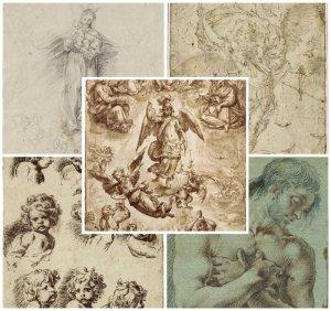 """Pequeña muestra del """"Álbum Alcubierre"""" con """"El Juicio Final"""" de Francisco Pacheco en el centro (1617), así como dibujos de Alonso Cano, García Reinoso, A. del Castillo y A. Palomino- de izquierda a derecha-"""