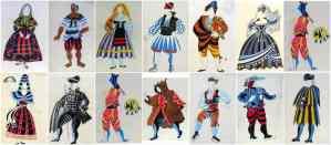 Algunos de los diseños de Picasso para el vestuario de la obra.