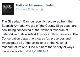 Comunicado en Facebook del Museo de Irlanda