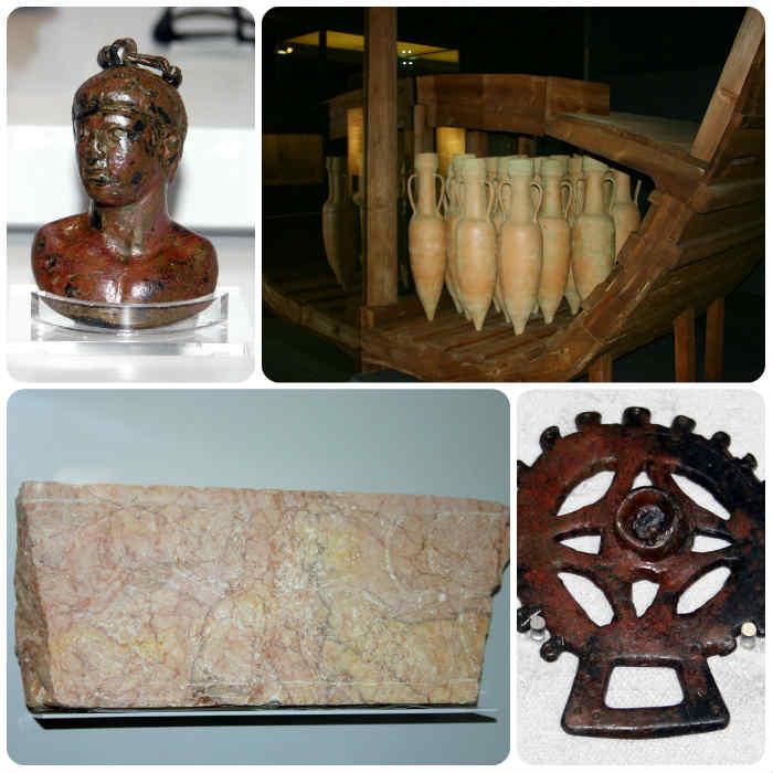 Algunas piezas expuestas en el museo (de Roma al mundo Visigodo)