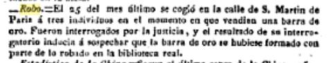 Noticia en la prensa española (El Correo) sobre la captura de los ladrones de París (diciembre de 1831)