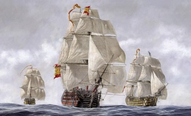 """Tres navíos de línea del siglo XVIII, españoles en la obra: """"Alas y rastreas"""" [Carlos Parrilla Penagos]"""