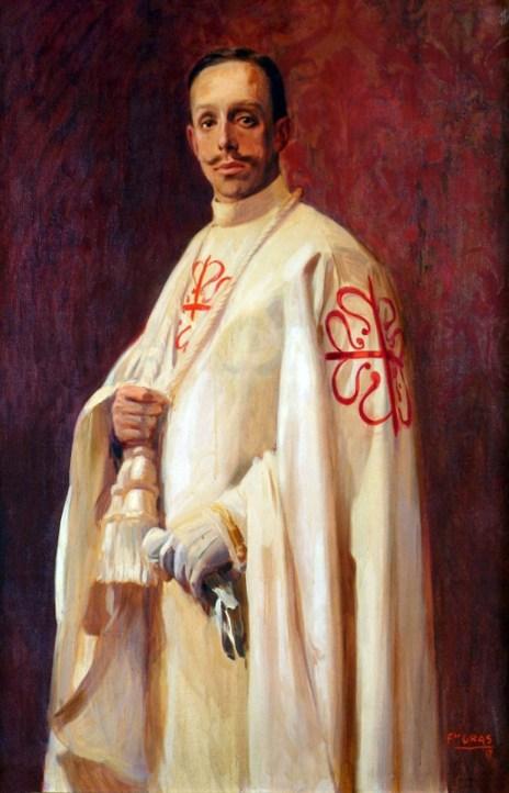 Alfonso XIII de Borbón vestido con el hábito de Calatrava (por F. Gras)