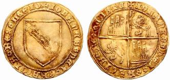 Moneda de Juan II con el escudo de la Orden de la Banda en su reverso