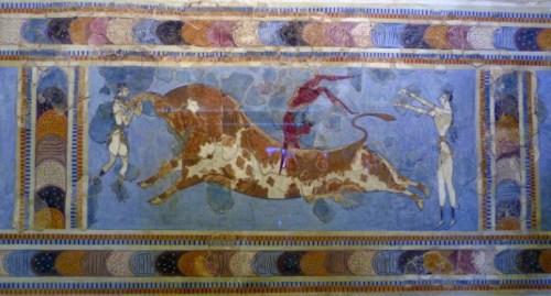 "Fresco del Palacio de Cnossos: ""Taurocatapsia"""