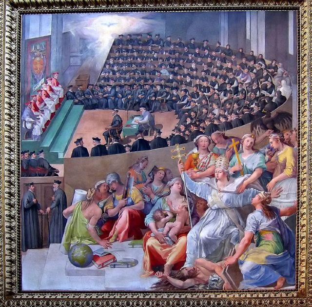 """Pasquale Cati .- """"Concilio de Trento"""" (1588), Santa Maria in Trastevere, Rome"""
