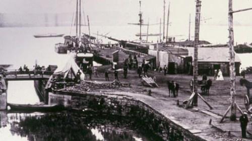 Canaly muelles en Alexandria Canal (río Potomac) durante la Guerra Civil Norteamericana