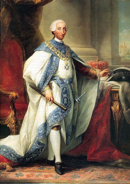 Carlos III vistiendo el hábito de su orden (Maella & Mengs, h1784)